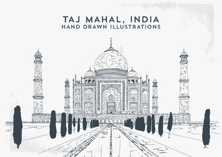 Taj Mahal, India. Vector hand drawn illustration - Vector