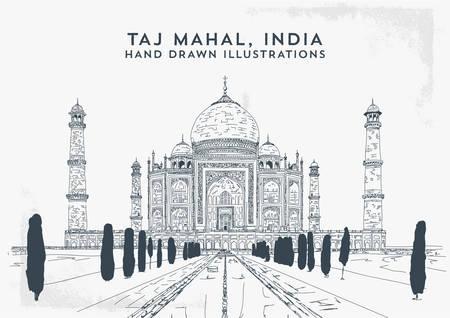 Taj Mahal, India. Vector hand drawn illustration - Vector