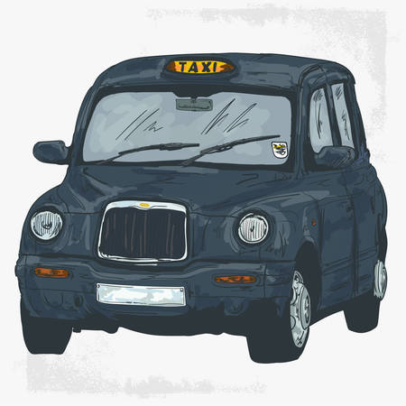 Classic London Taxi Cab Vector Drawing Illustration - Vector Ilustrace