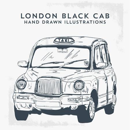 Classic London Taxi Cab Vector Drawing Illustration - Vector Stock Illustratie