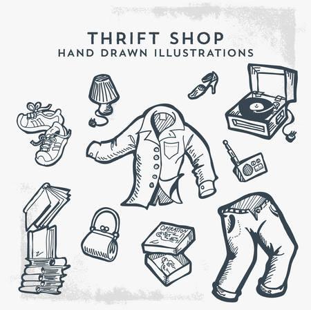 Sklep z używanymi rzeczami ręcznie rysowane ilustracje. Pchli targ, sprzedaż garażowa i przedmioty używane. - Wektor