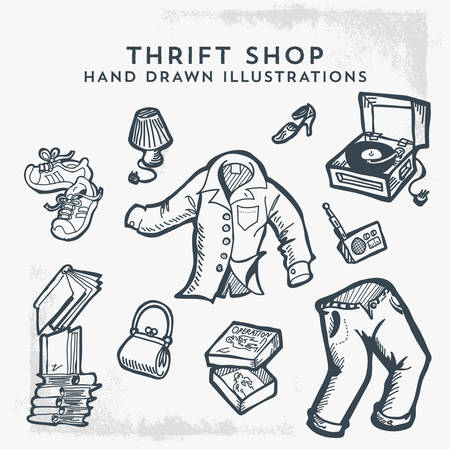 Thrift Shop Hand Drawn Illustrations. Flea market, Garage Sale and Second Hand Items. - Vector