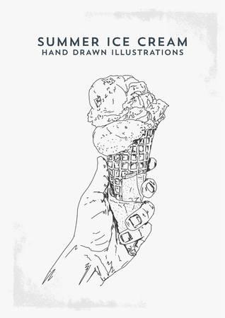 Ice Cream Cone Black and White Hand Drawn Illustration - Vector