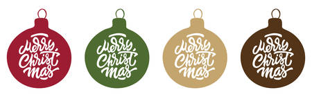 Christmas Baubles with Hand Lettered Merry Christmas inside. - Vector