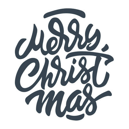 Merry Christmas Hand Lettering Inscription to Winter Holiday Design, calligraphy vector illustration - Vector Ilustrace