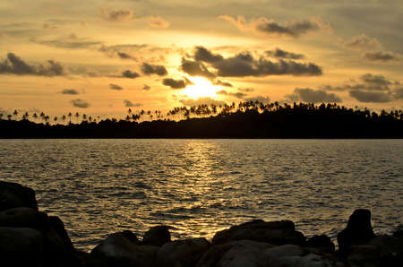 sihouette: The golden time to take a photograph of sunset at Klong Yai Kee Beach kohkood Thailand