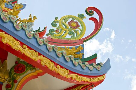 a picture of chinese temple roof shape with blue sky  photo