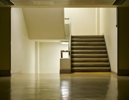 A photo of floor and stair of my office. Stock Photo