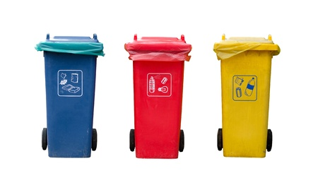 A photo of 3 Recycle bins  This photo is isolated