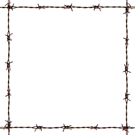 barbed wire fence: A photo of barb frame  Stock Photo