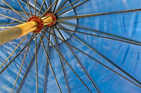 Inside the Blue Sunshade. Stock Photo
