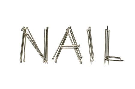 nail alphabet on white background