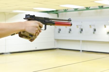 training gun aim to target  Stock Photo