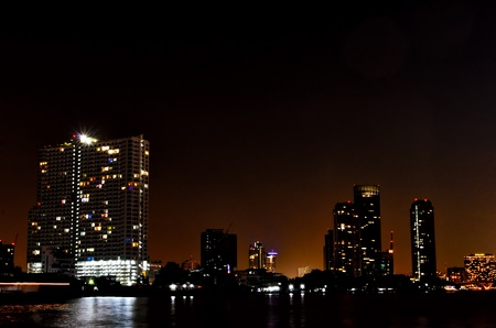 bangkok night river view photo