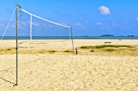 beach volleyball at samila beach in songkhla thailand photo