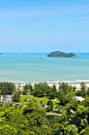 Samila beach in Songkhla, Thailand and maew island
