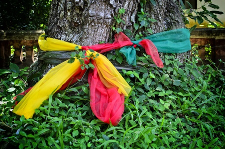 adore: Three fabric color bundle the old tree, the belief in thailand Stock Photo