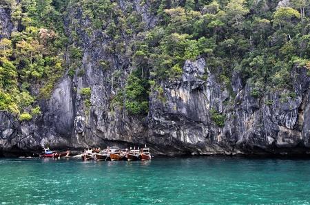 long tail boats at koh mook,trang,thailand