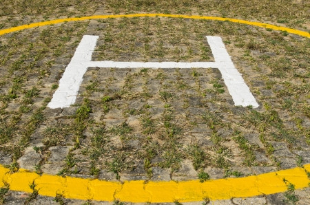 Helicopter landing pad on grass