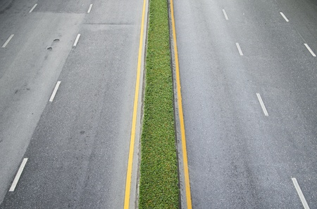 Asphalt road with white lines and green plant center photo