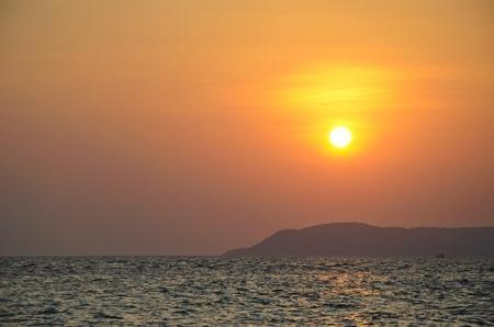 sunset at koh lan , pattaya, thailand