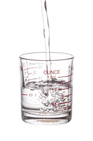 pouring liquid to measuring glass