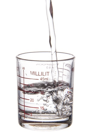 liter: pouring liquid to measuring glass