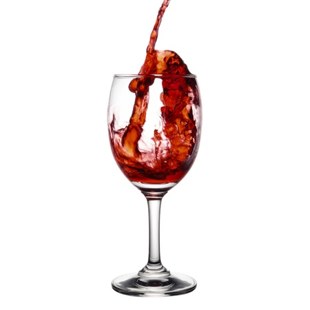 pouring red wine isolated on white background Stock Photo