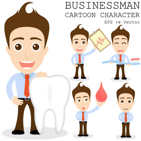 character set: Businessman cartoon character