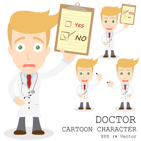 doctor tablet: Doctor cartoon character  Illustration