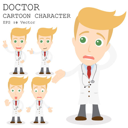 worried executive: Doctor cartoon character    Illustration