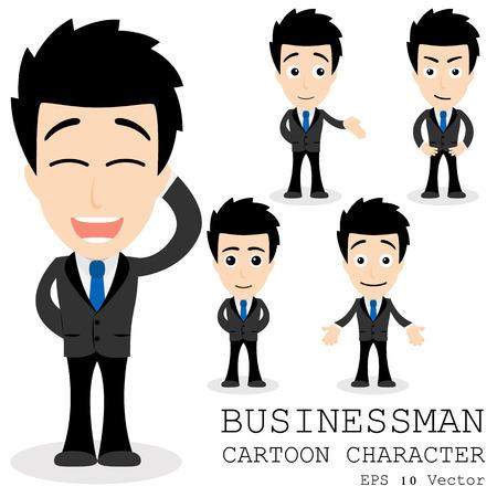 hombres ejecutivos: Personaje de dibujos animados del hombre de negocios Vectores