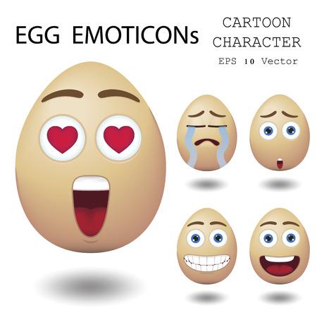 cry icon: Egg emoticon cartoon character  Illustration