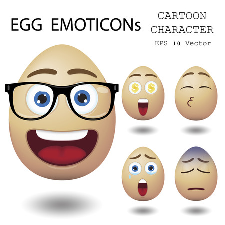 smily: Egg emoticon cartoon character  Illustration