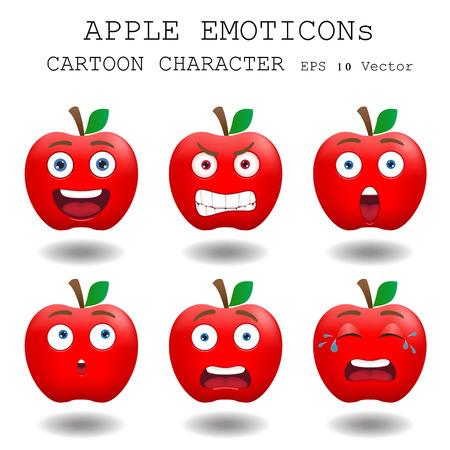 Apple emoticon cartoon character  Vector