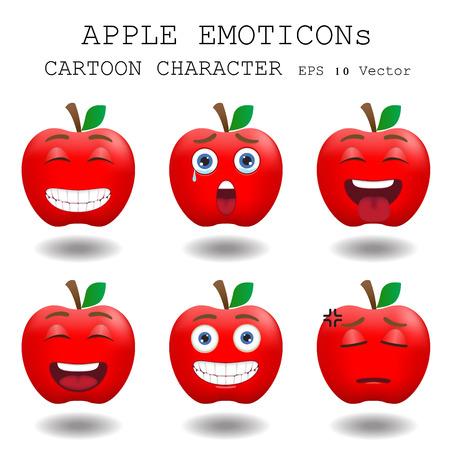 cara sorprendida: Manzana personaje de dibujos animados emoticon