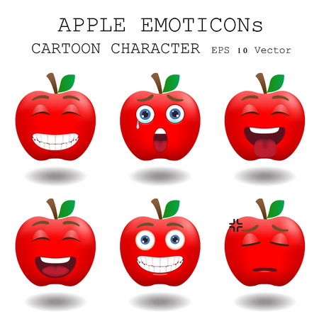 manzana caricatura: Manzana personaje de dibujos animados emoticon