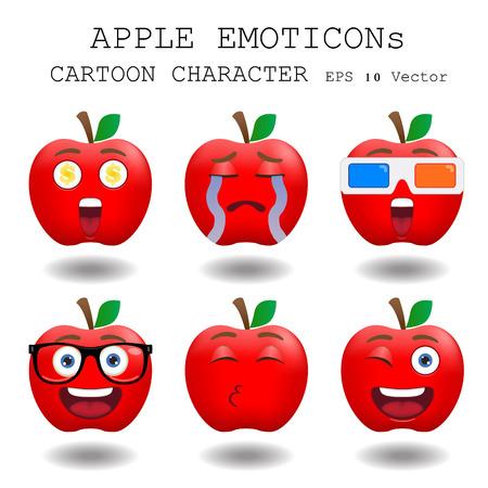 Apple emoticon cartoon character eps 10 vector Illustration