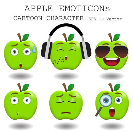 Apple emoticon cartoon character