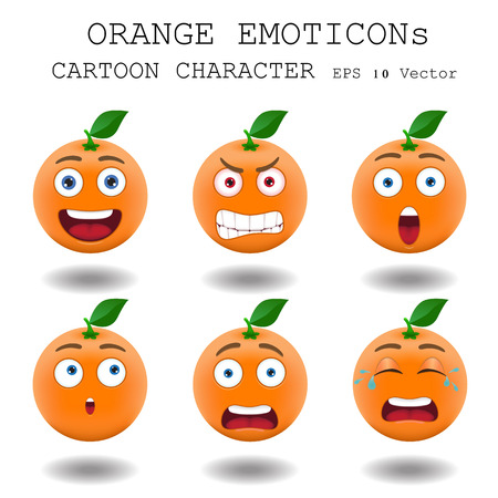 Orange emoticon cartoon character  Vector
