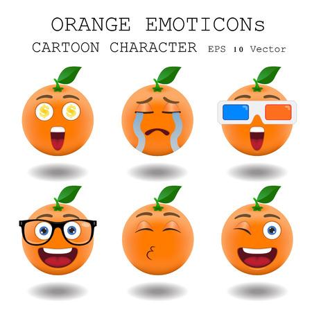 Orange emoticon cartoon character  Vector