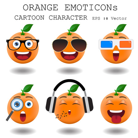 emoticons: Orange emoticon cartoon character  Illustration