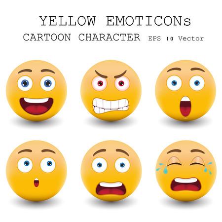 Gele emoticon stripfiguur Stock Illustratie