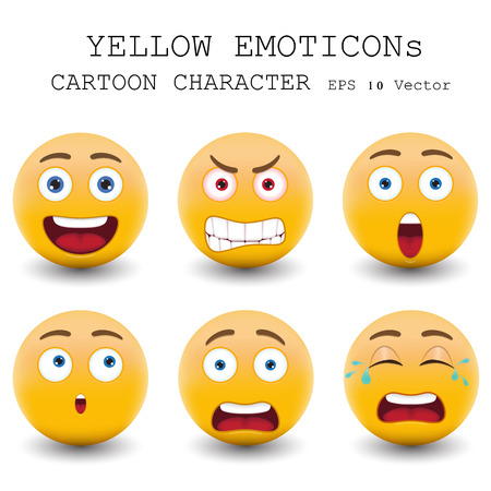face expressions: Yellow emoticon cartoon character  Illustration