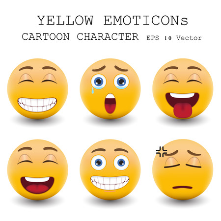 Personnage de dessin animé émoticône jaune