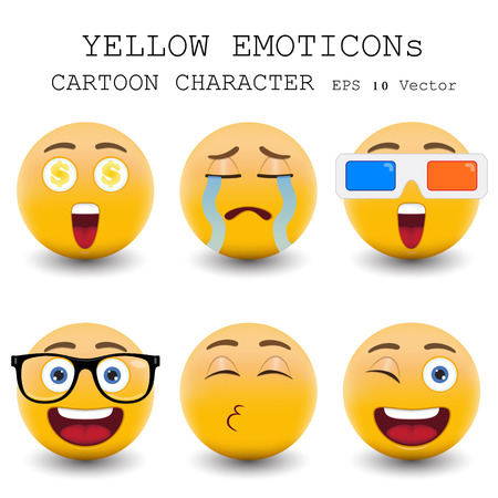Yellow emoticon cartoon character  Иллюстрация
