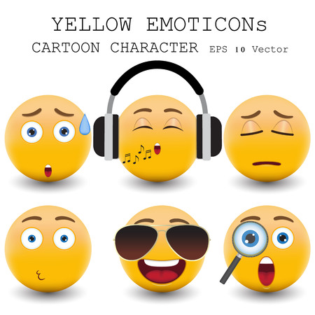 smily: Yellow emoticon cartoon character  Illustration