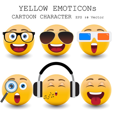 happy emoticon: Yellow emoticon cartoon character  Illustration