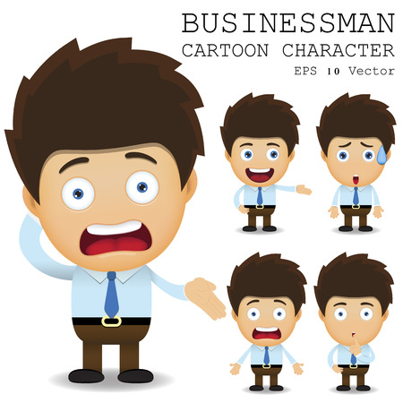 character set: Businessman cartoon character Illustration