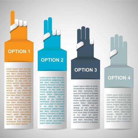 hand number banner design template illustration